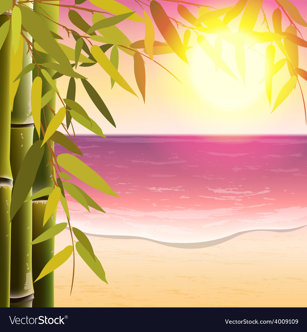 Bamboo trees and leaves on the sand beach vector | Price: 1 Credit (USD $1)