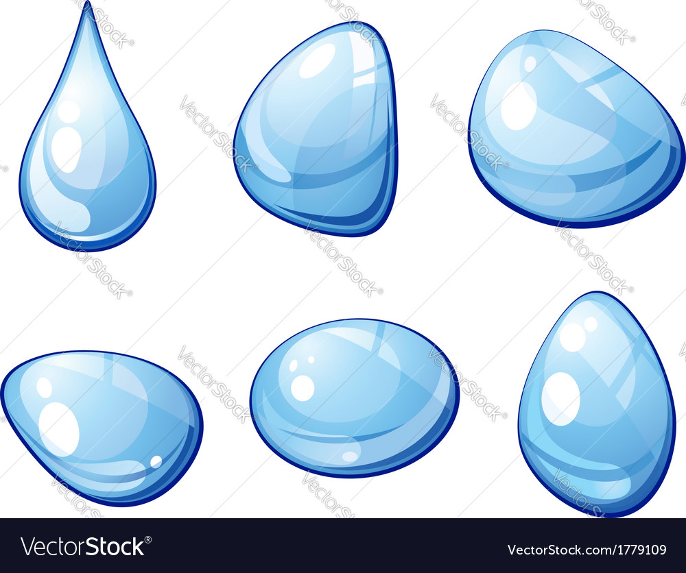 Blue water drops set vector | Price: 1 Credit (USD $1)