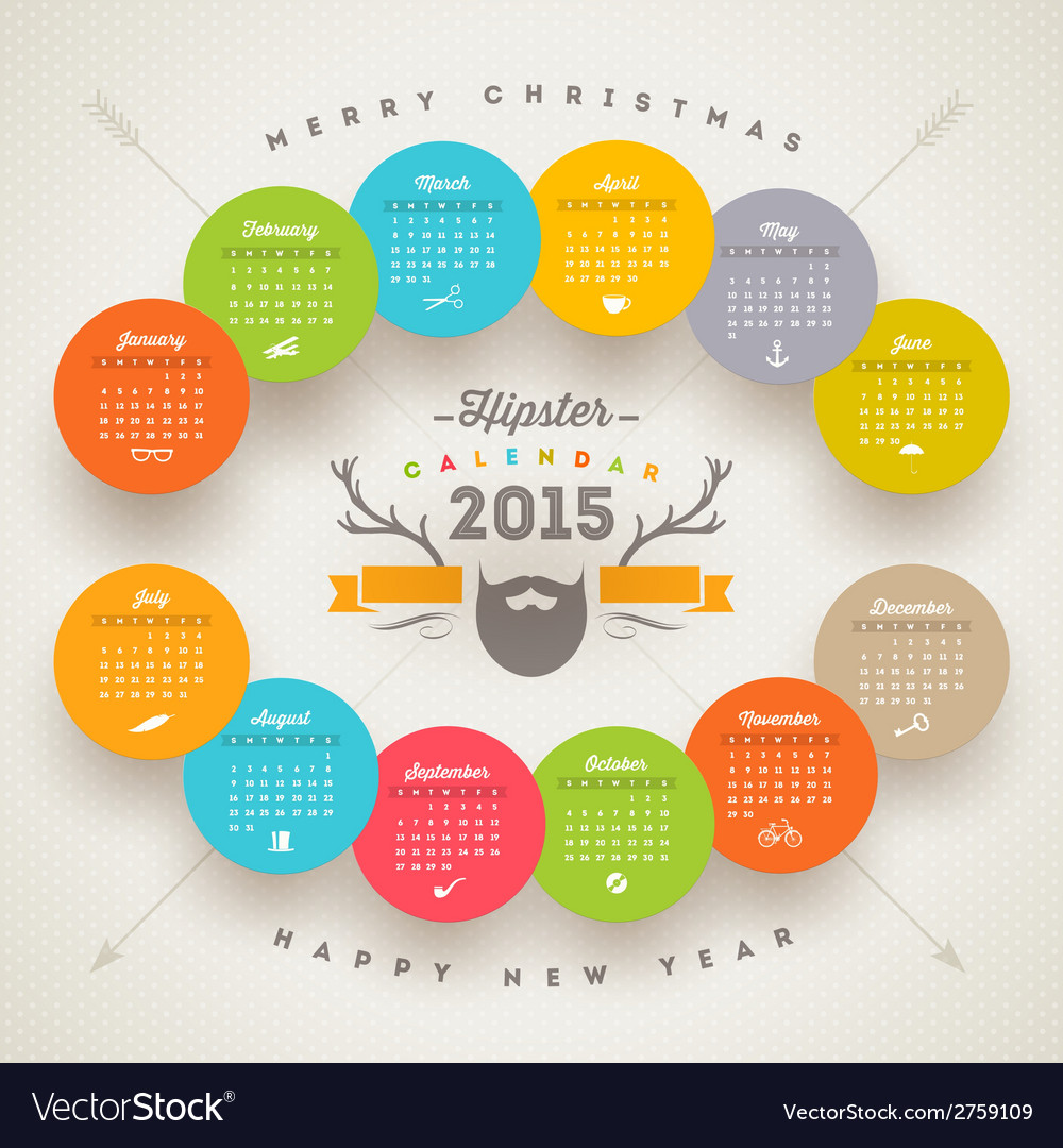 Calendar 2015 template with hipster style elements vector | Price: 1 Credit (USD $1)