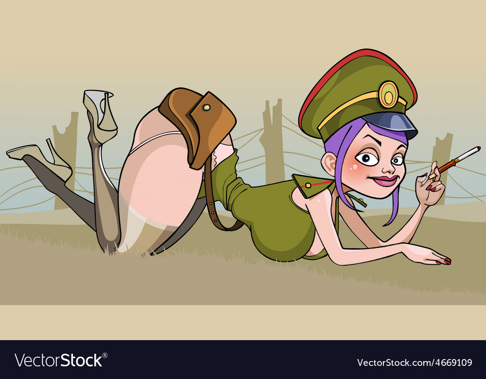 Cartoon of a sexy woman in military uniform lying vector | Price: 3 Credit (USD $3)
