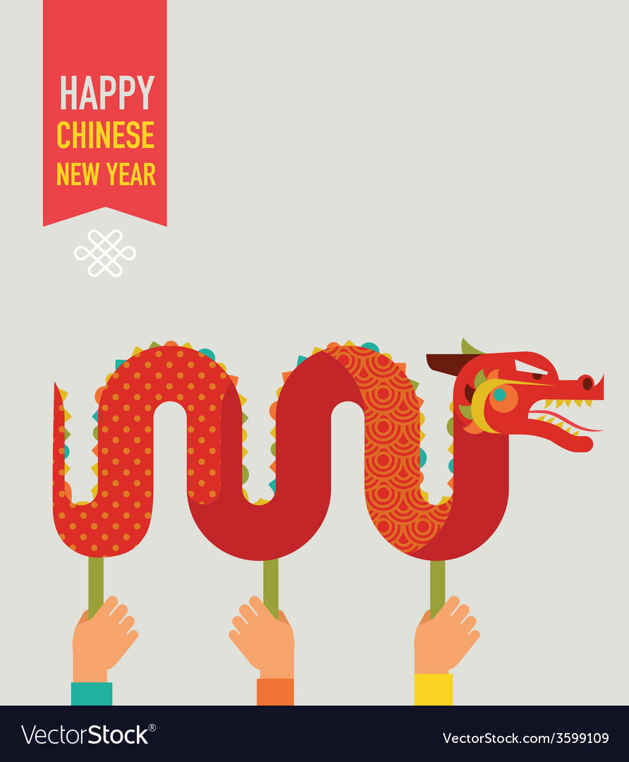 Chinese new year background with red dragon vector | Price: 1 Credit (USD $1)