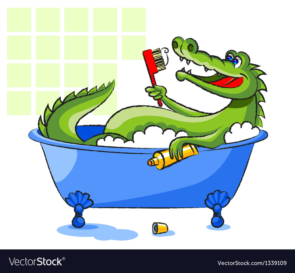 Crocodile in a bathtub vector | Price: 3 Credit (USD $3)