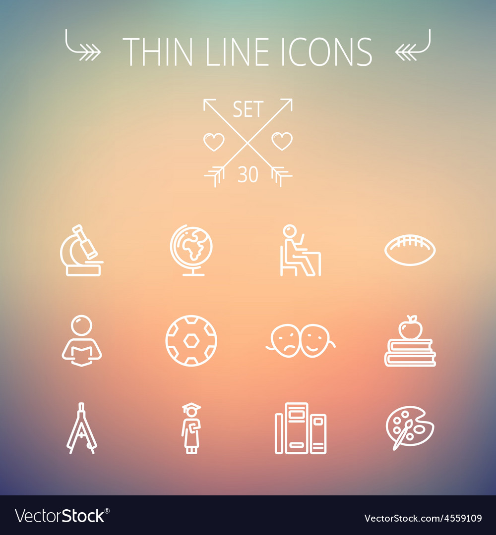Education thin line icon set vector | Price: 1 Credit (USD $1)