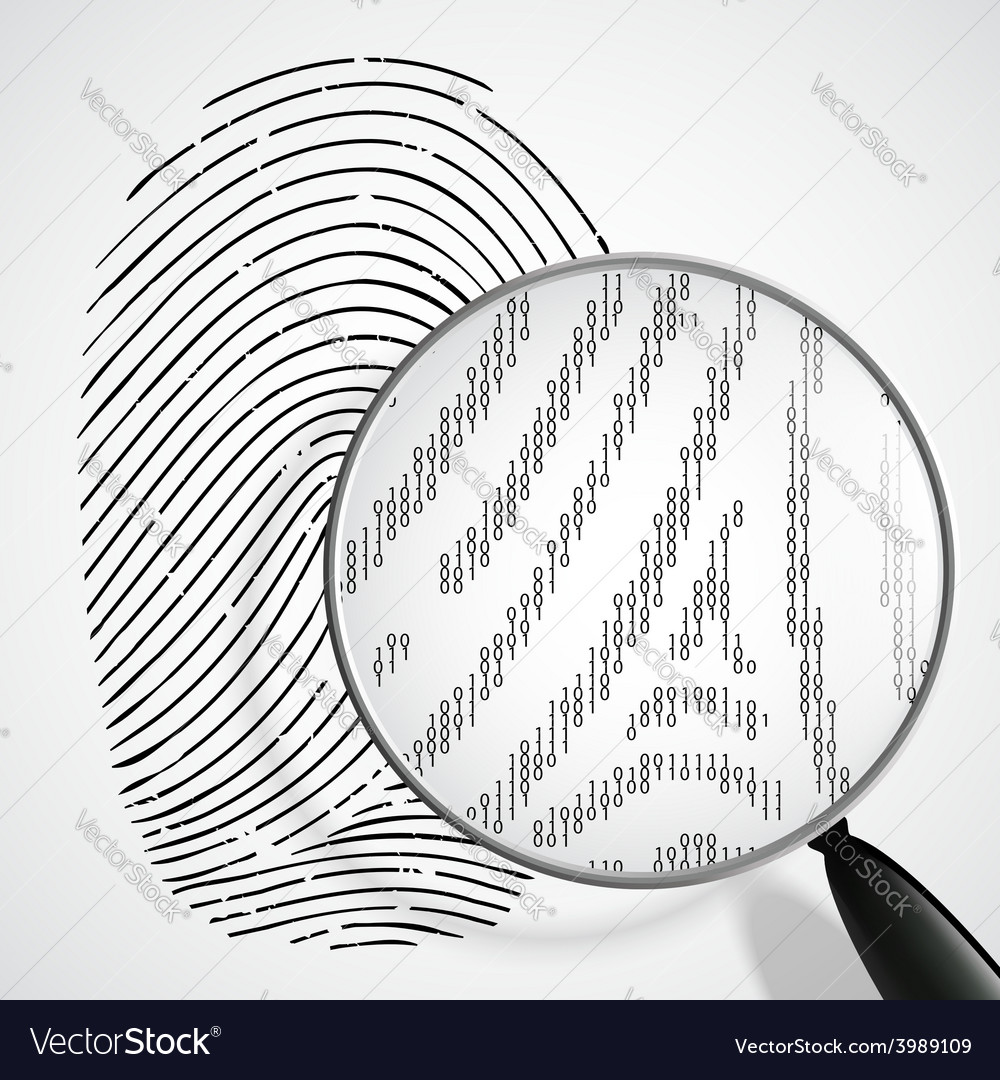 Fingerprint and magnifying glass vector | Price: 1 Credit (USD $1)