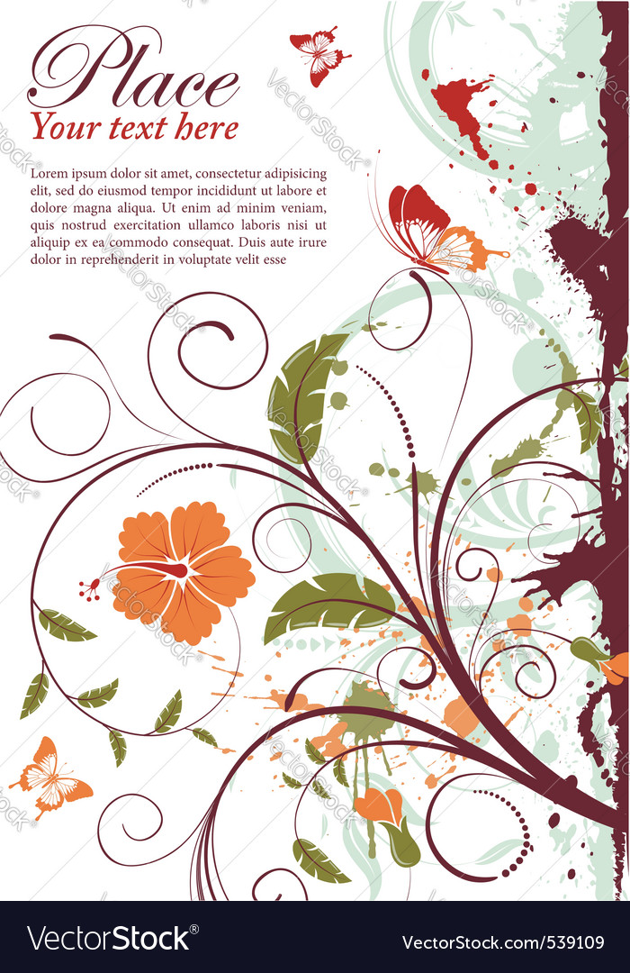 Grunge decorative floral vector | Price: 1 Credit (USD $1)
