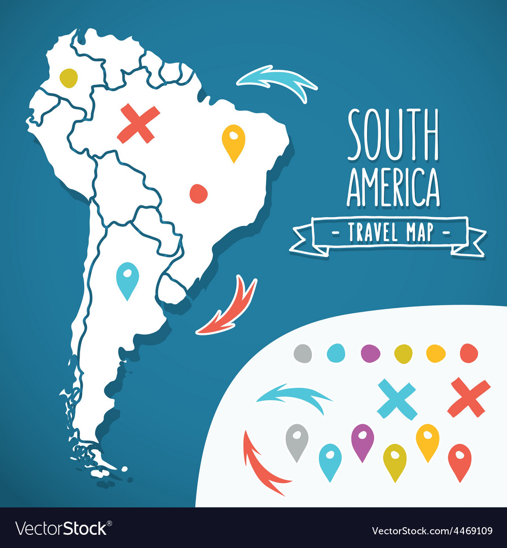 Hand drawn south america travel map with pins vector | Price: 1 Credit (USD $1)