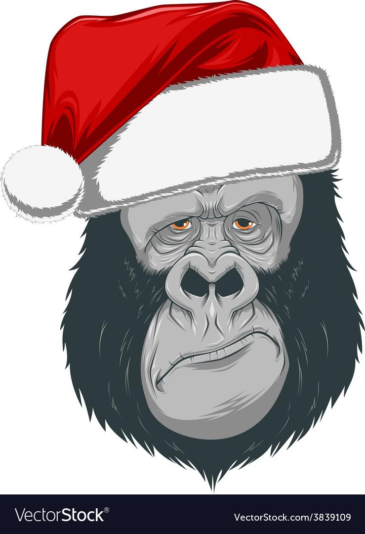 Head gorilla in a cap vector   Price: 3 Credit (USD $3)