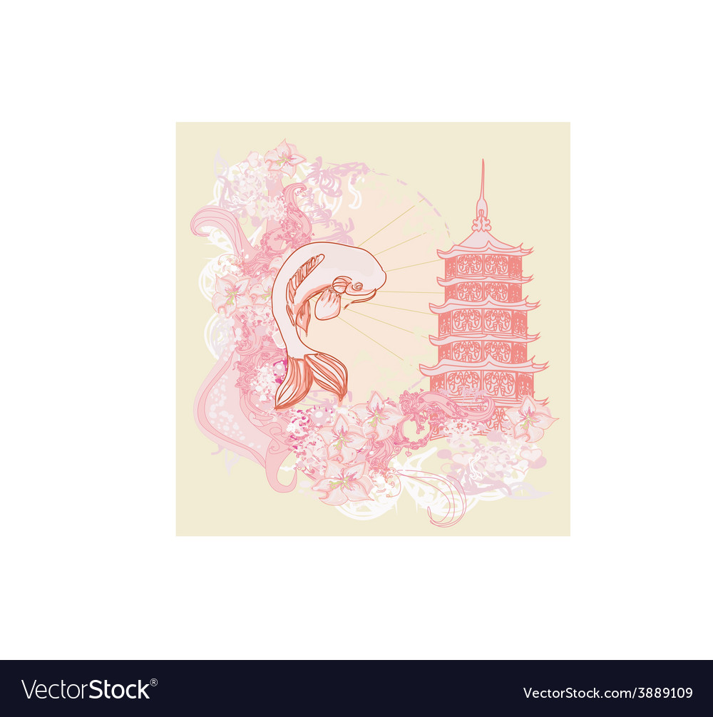 Japanese koi and ancient building background vector | Price: 1 Credit (USD $1)