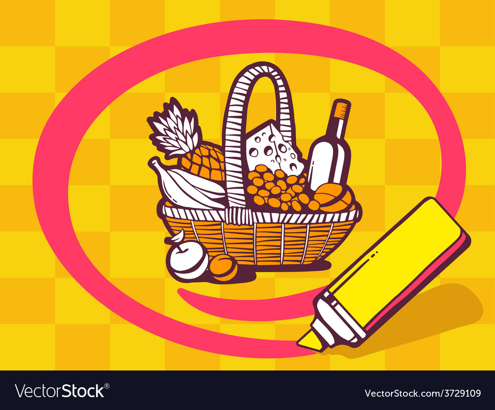 Marker drawing circle around basket with vector | Price: 1 Credit (USD $1)