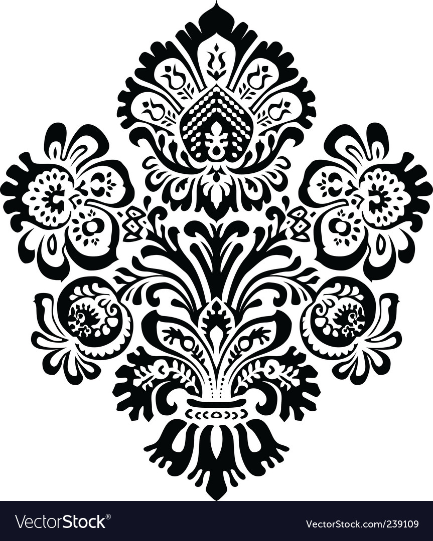 Ornate flower ornament vector | Price: 1 Credit (USD $1)
