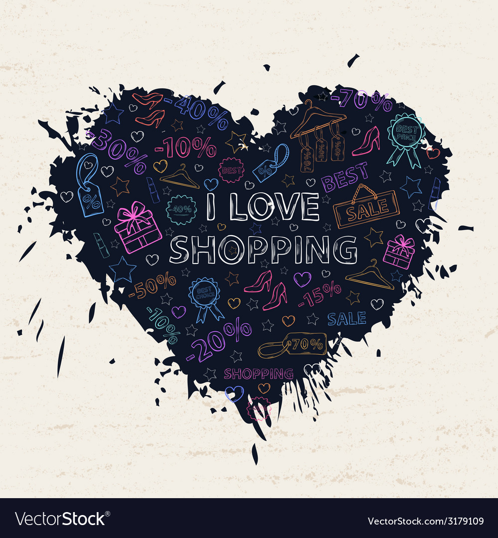 Shopping neon heart vector | Price: 1 Credit (USD $1)