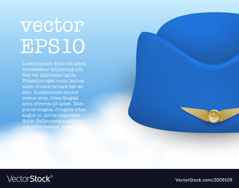 Stewardess hat of air hostess uniform vector | Price: 1 Credit (USD $1)
