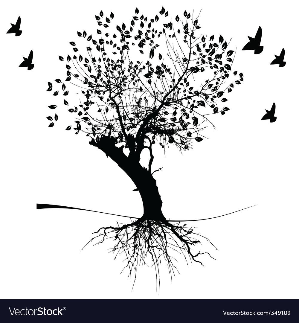 Tree with birds vector | Price: 1 Credit (USD $1)