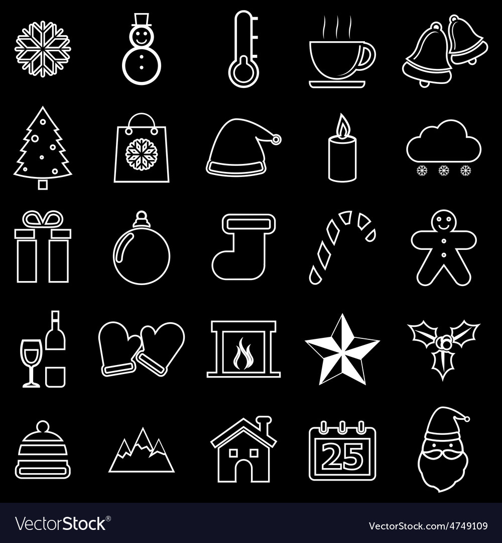 Winter line icons on black background vector   Price: 1 Credit (USD $1)
