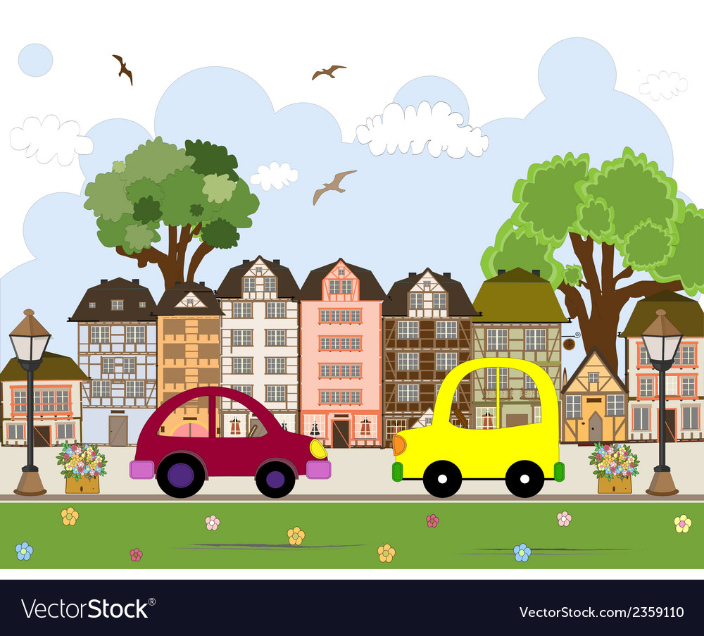 Car passing by in abstract city vector | Price: 1 Credit (USD $1)