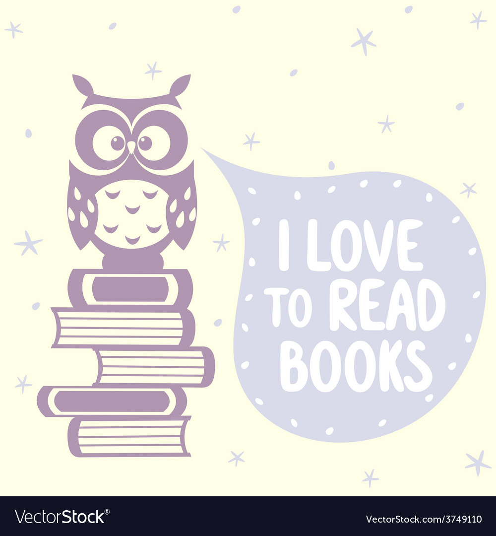 Cute owls and books vector