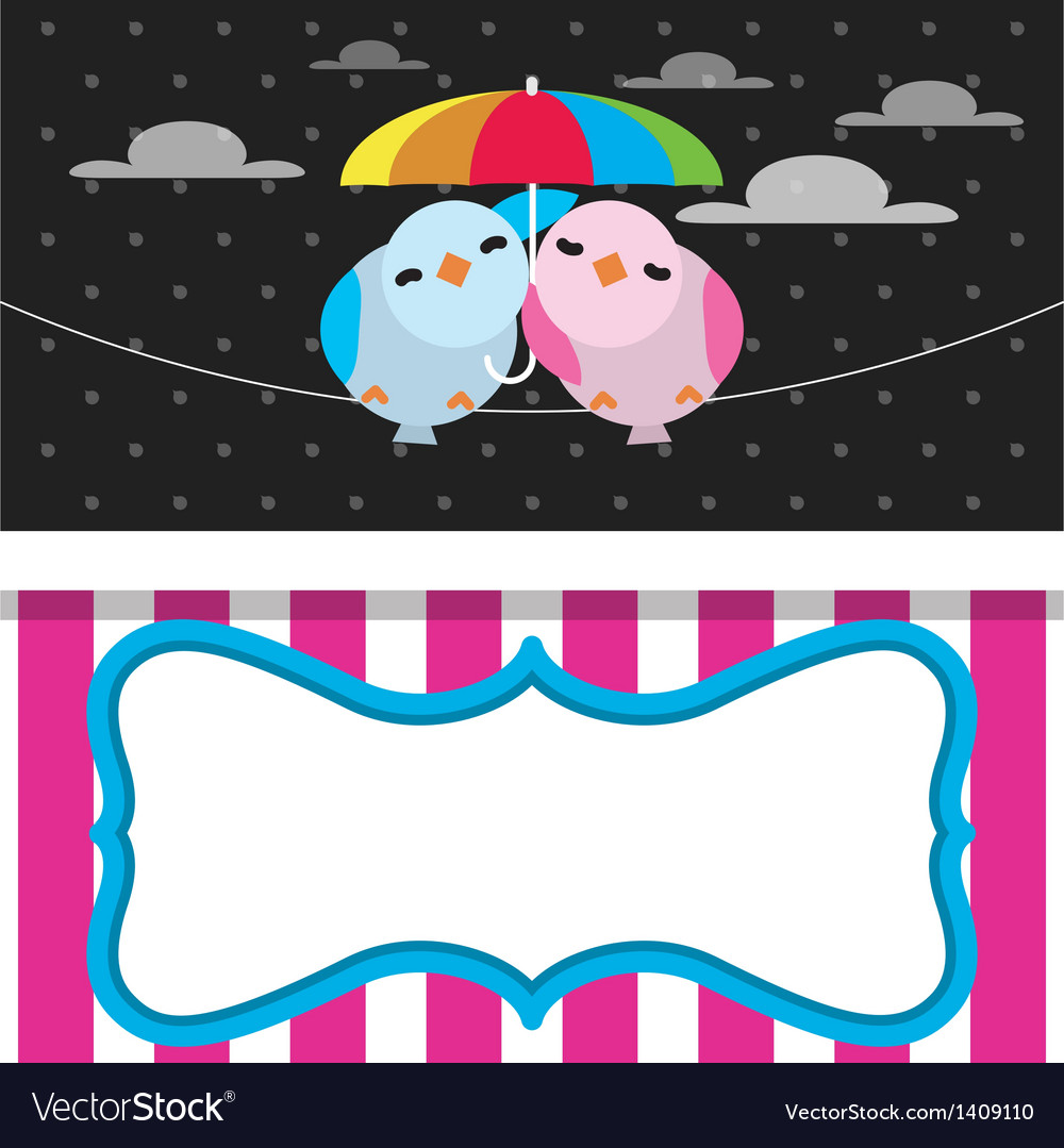 Cute rainy card with birds vector | Price: 1 Credit (USD $1)