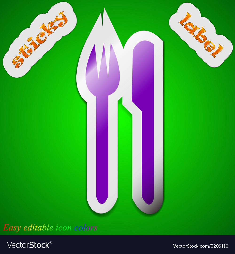 Cutlery icon sign symbol chic colored sticky label vector | Price: 1 Credit (USD $1)