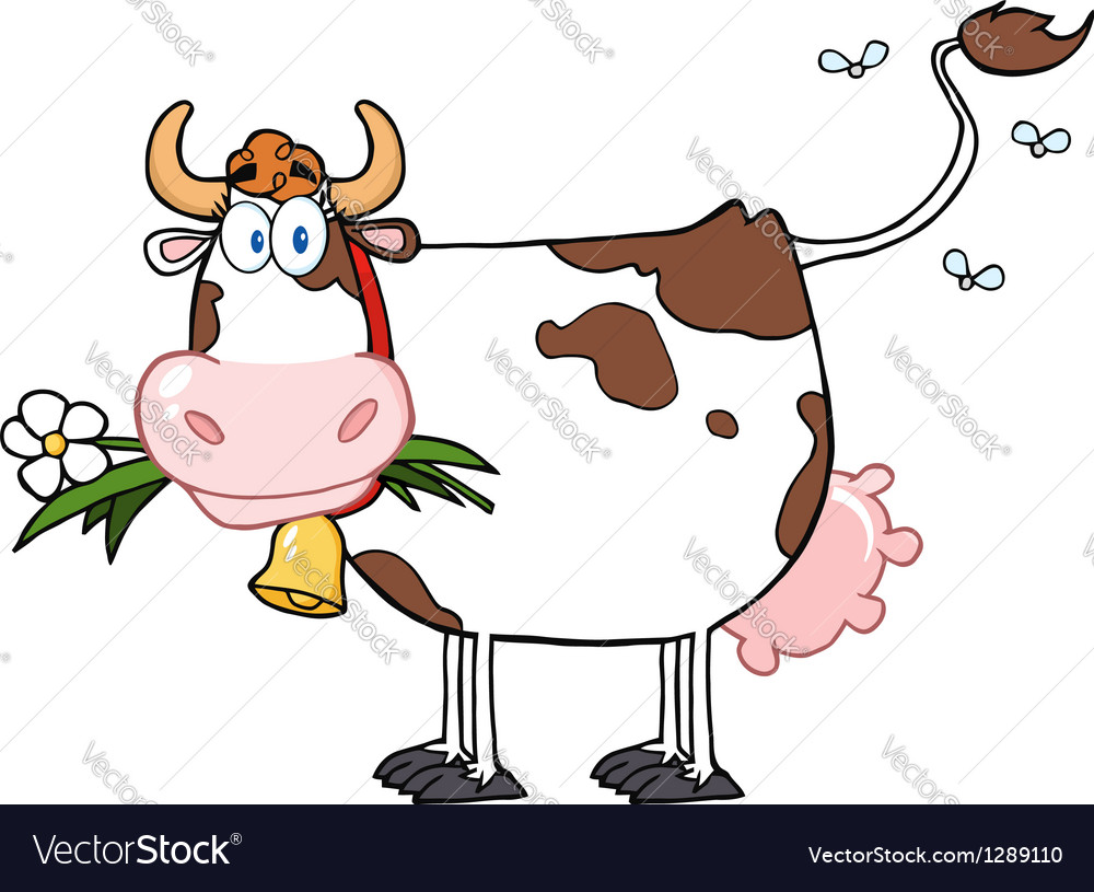 Dairy cow with flower in mouth vector | Price: 1 Credit (USD $1)