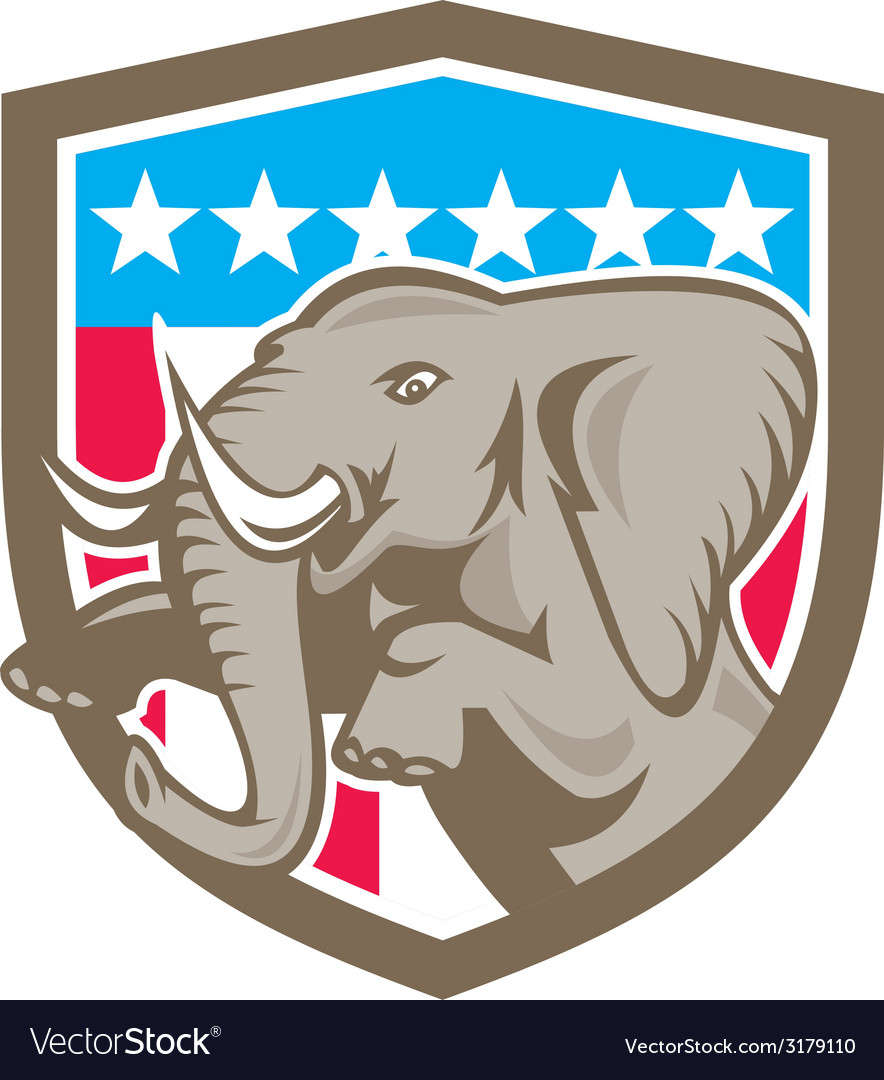 Elephant prancing stars shield retro vector | Price: 1 Credit (USD $1)