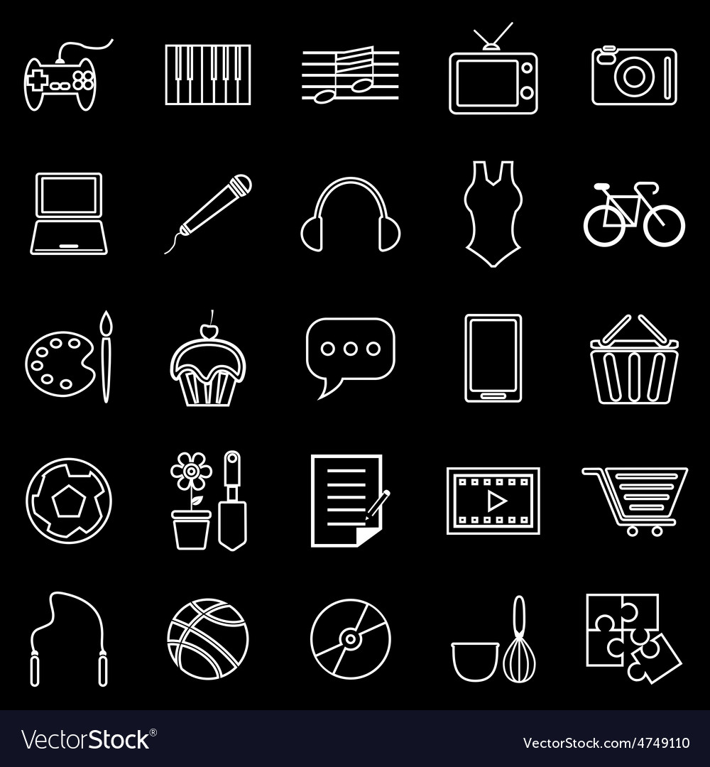 Hobby line icons on black background vector | Price: 1 Credit (USD $1)