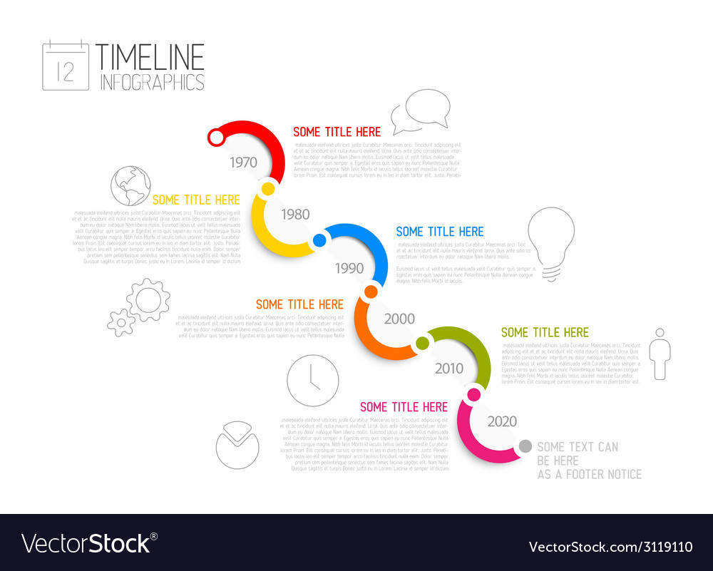 Infographic diagonal timeline report template vector | Price: 1 Credit (USD $1)