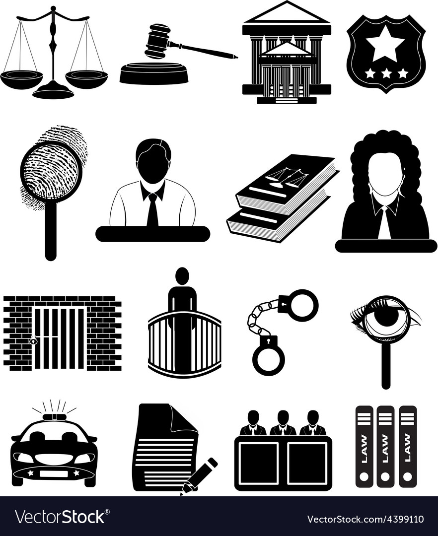 Law court icons set vector | Price: 1 Credit (USD $1)