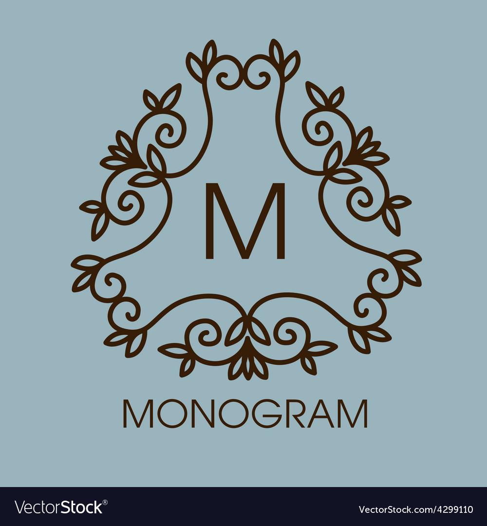 Monogram design floral outline frame or vector | Price: 1 Credit (USD $1)