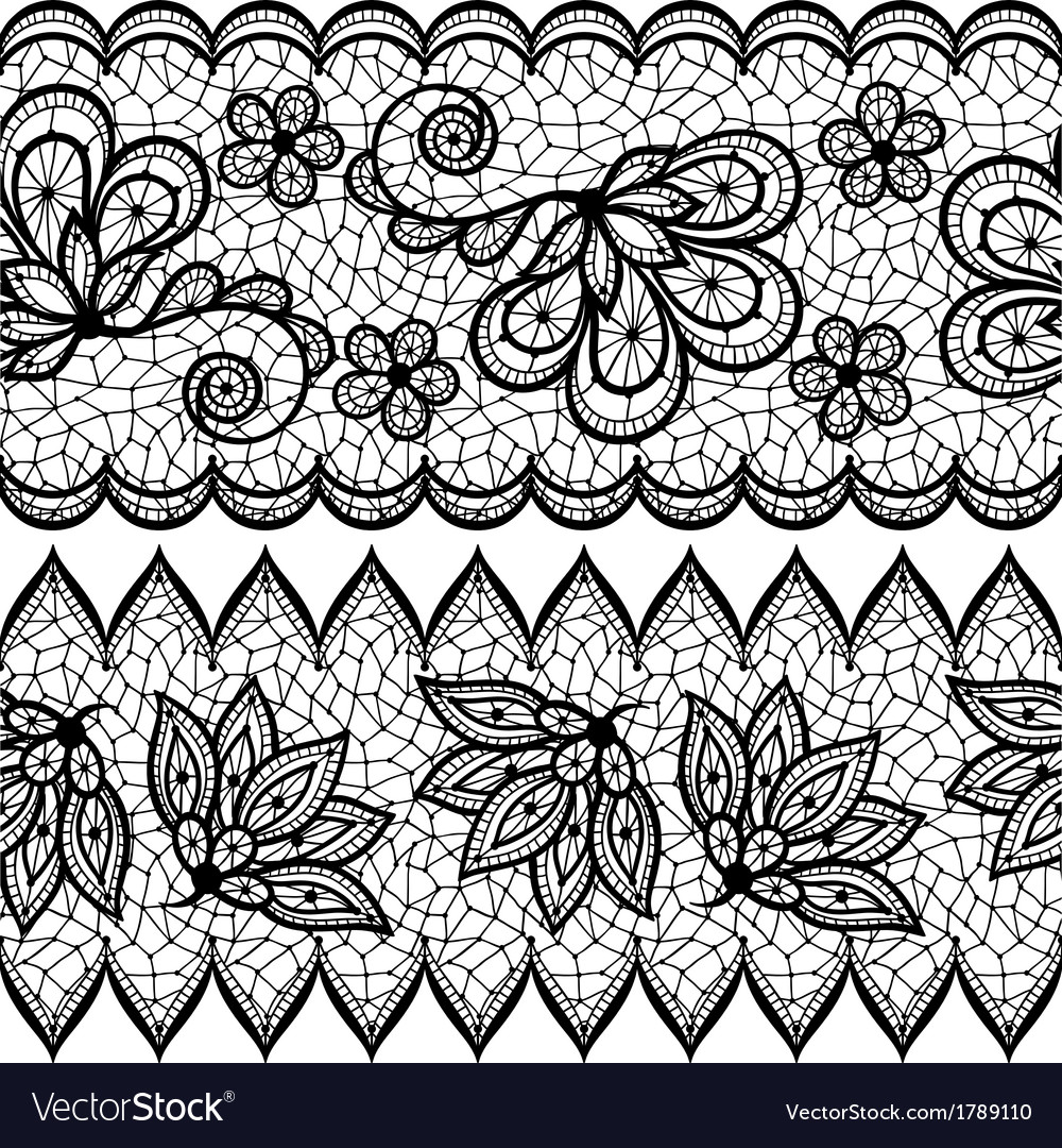 Old lace seamless pattern ornamental border vector | Price: 1 Credit (USD $1)