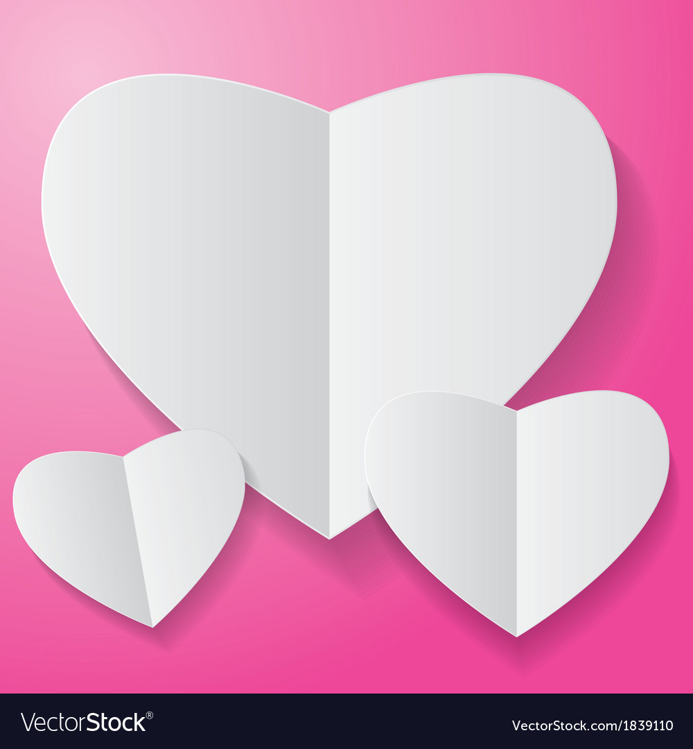 Paper heart on pink background vector | Price: 1 Credit (USD $1)