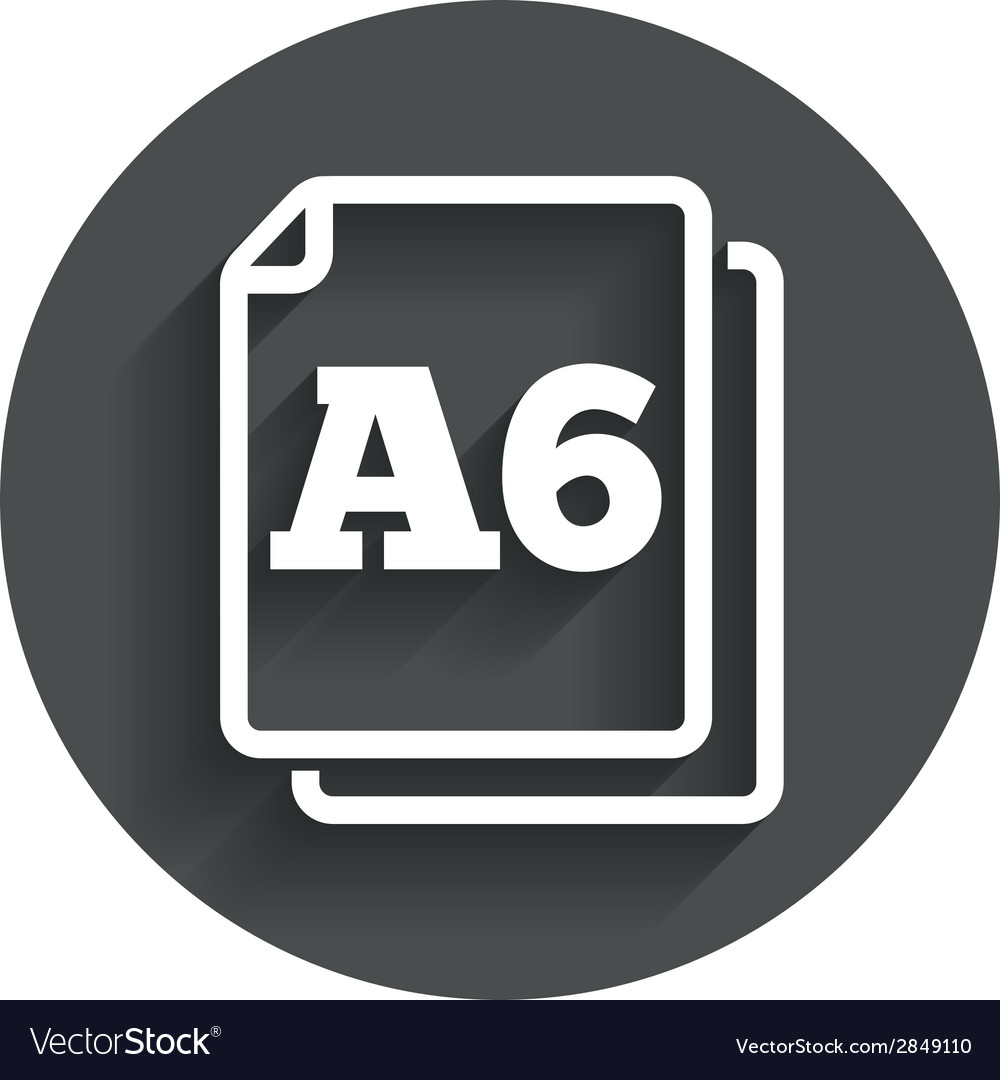 Paper size a6 standard icon document symbol vector | Price: 1 Credit (USD $1)