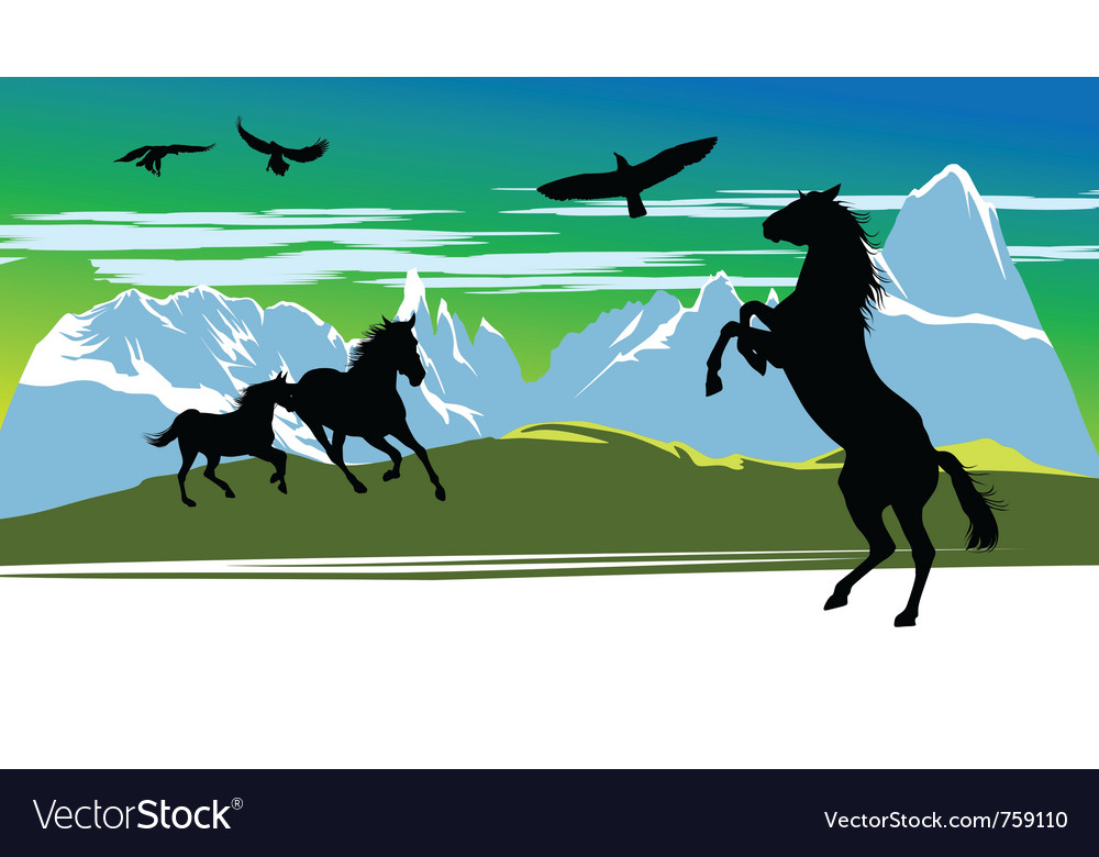 Running black horses and birds vector   Price: 3 Credit (USD $3)