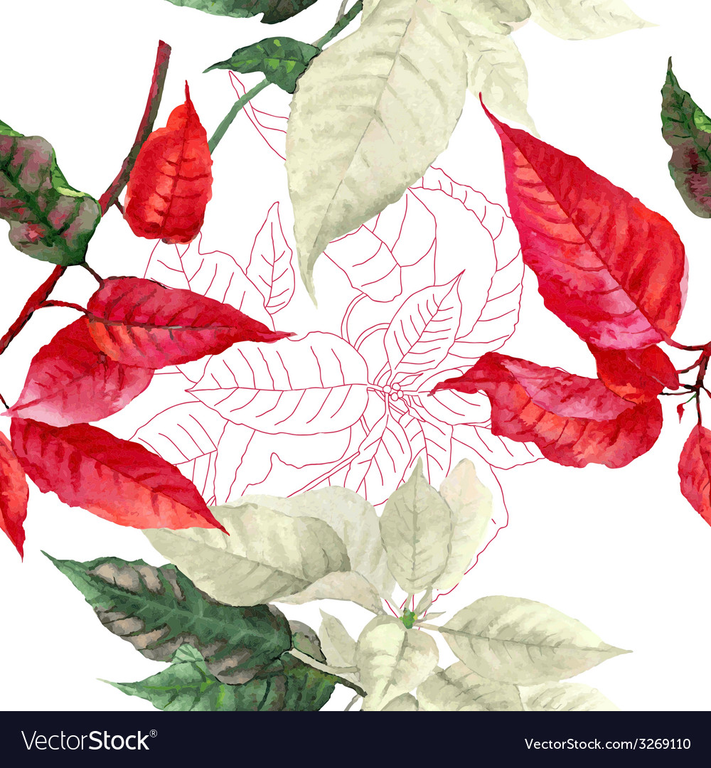 Seamless pattern with red poinsettia plant-01 vector | Price: 1 Credit (USD $1)