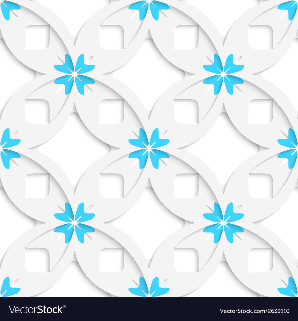 White geometrical flowers and squares layered vector | Price: 1 Credit (USD $1)