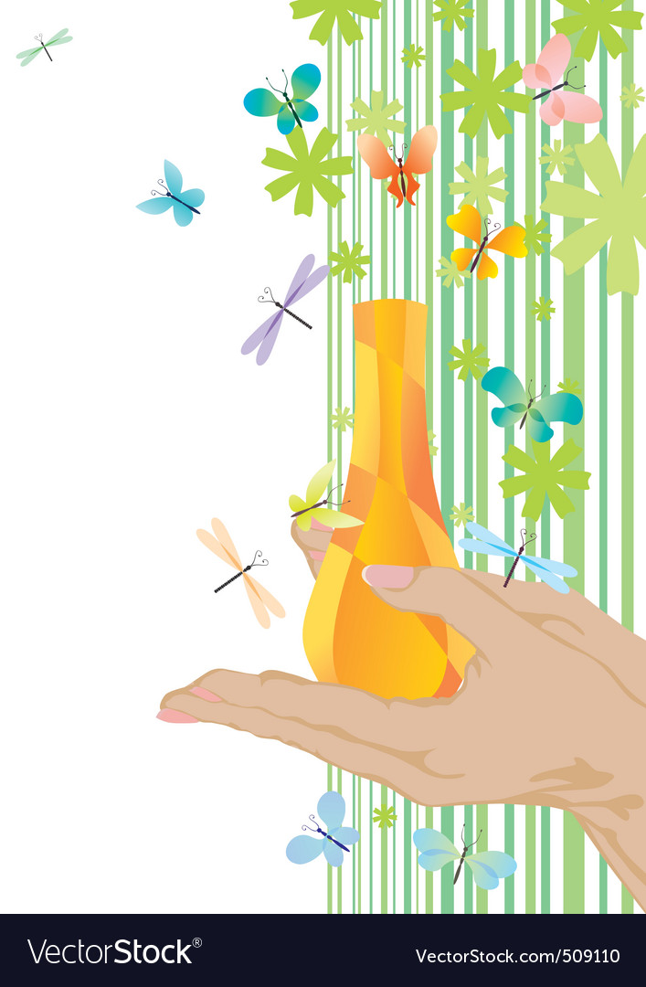 Yellow fragrance and butterflies vector | Price: 1 Credit (USD $1)