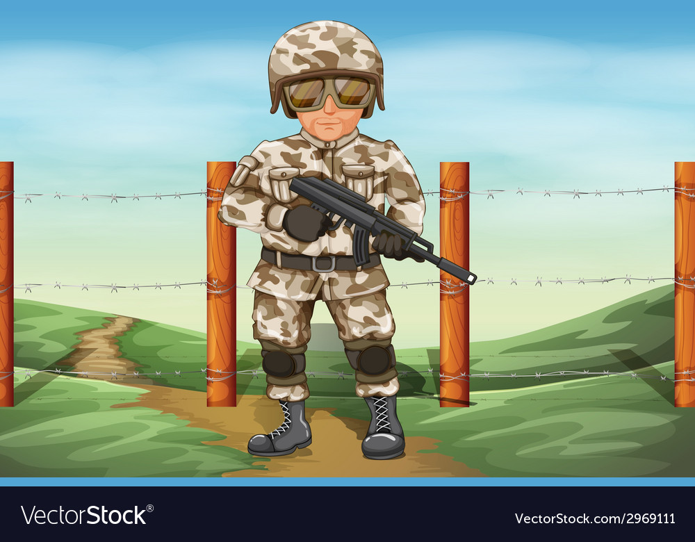 A soldier holding a gun vector | Price: 1 Credit (USD $1)