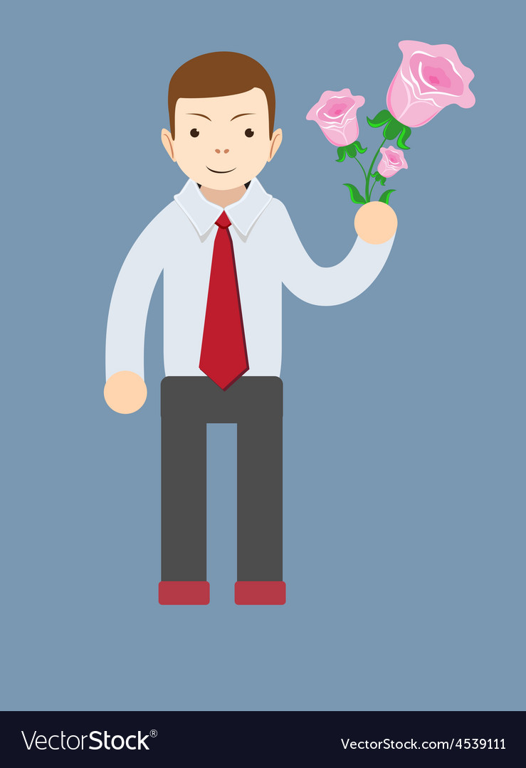 Businessman hand holding bouquet of pink rose vector | Price: 1 Credit (USD $1)
