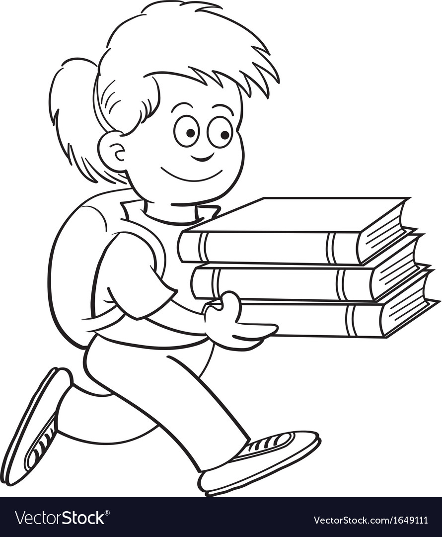 Cartoon girl carrying books vector | Price: 1 Credit (USD $1)