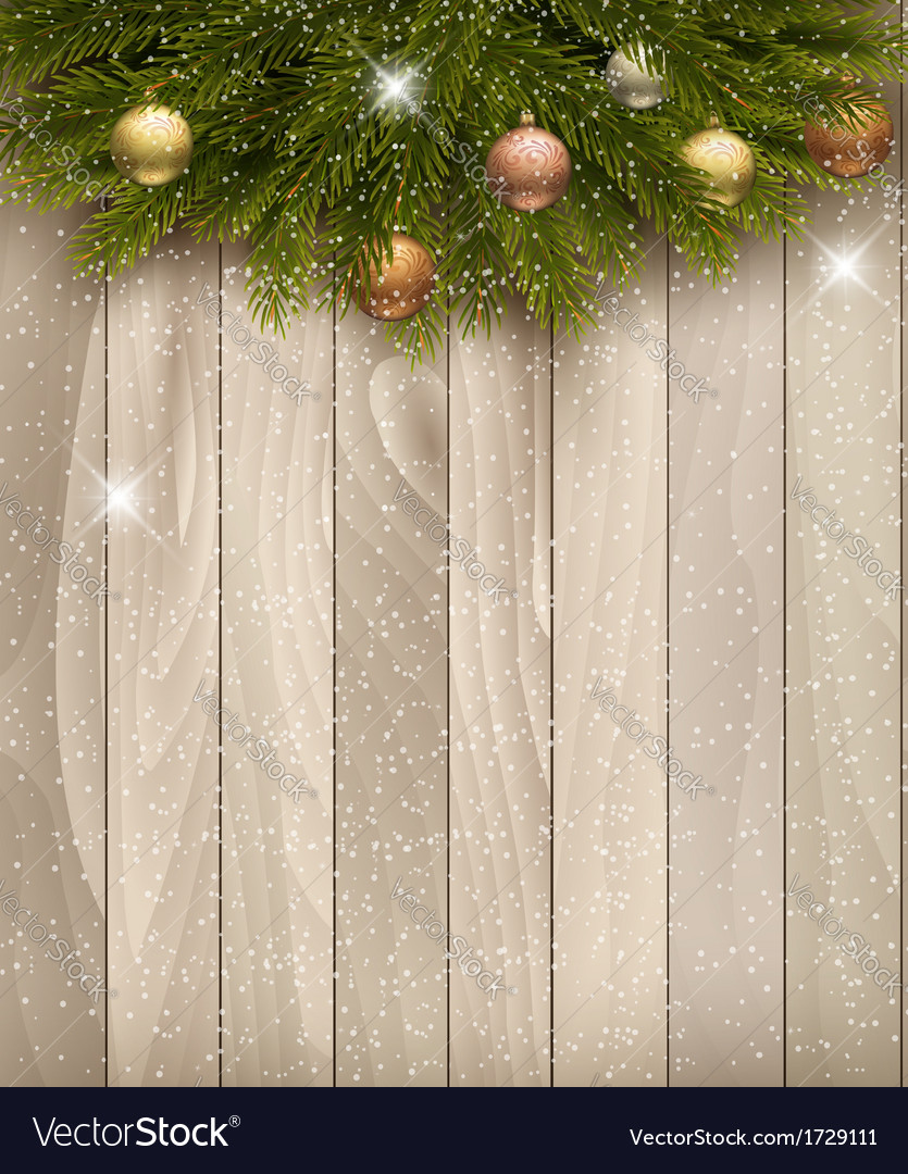 Christmas decoration on wooden background vector | Price: 1 Credit (USD $1)