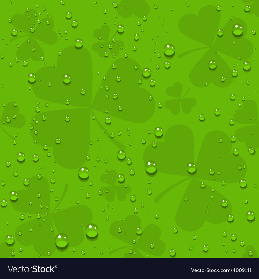 Green seamless clover leaves with transparent vector