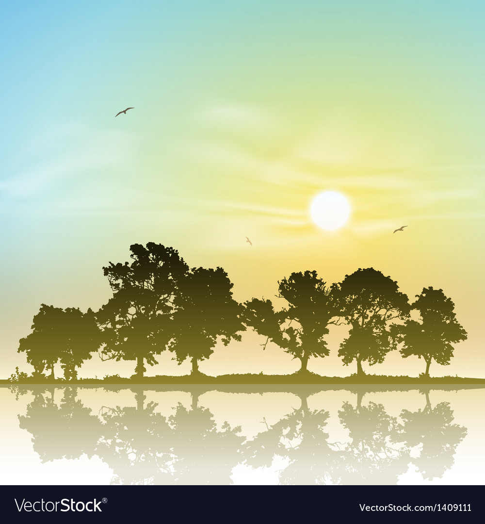 Line of trees vector | Price: 1 Credit (USD $1)
