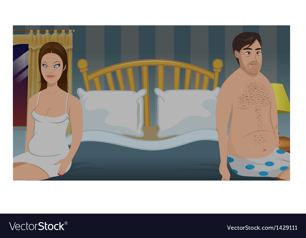 Sexless bedroom couple vector | Price: 1 Credit (USD $1)