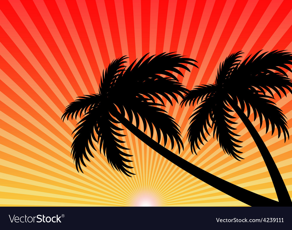 Summer holiday sunset background vector | Price: 1 Credit (USD $1)