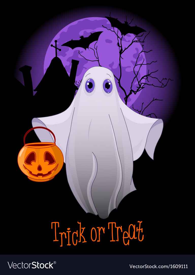 Trick or treating ghost vector | Price: 1 Credit (USD $1)