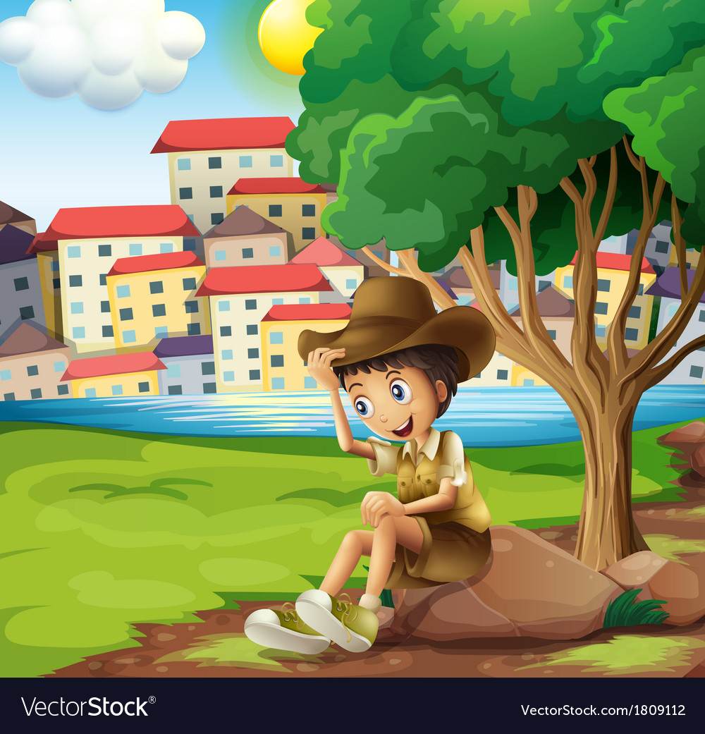 A young explorer sitting above the rock across the vector | Price: 1 Credit (USD $1)
