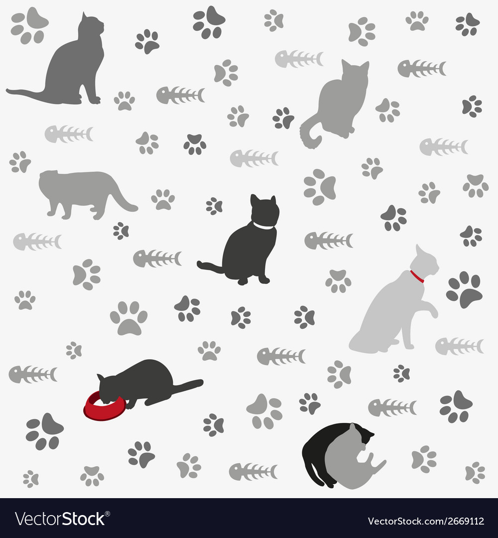Background with cats paw print and fish bone vector | Price: 1 Credit (USD $1)