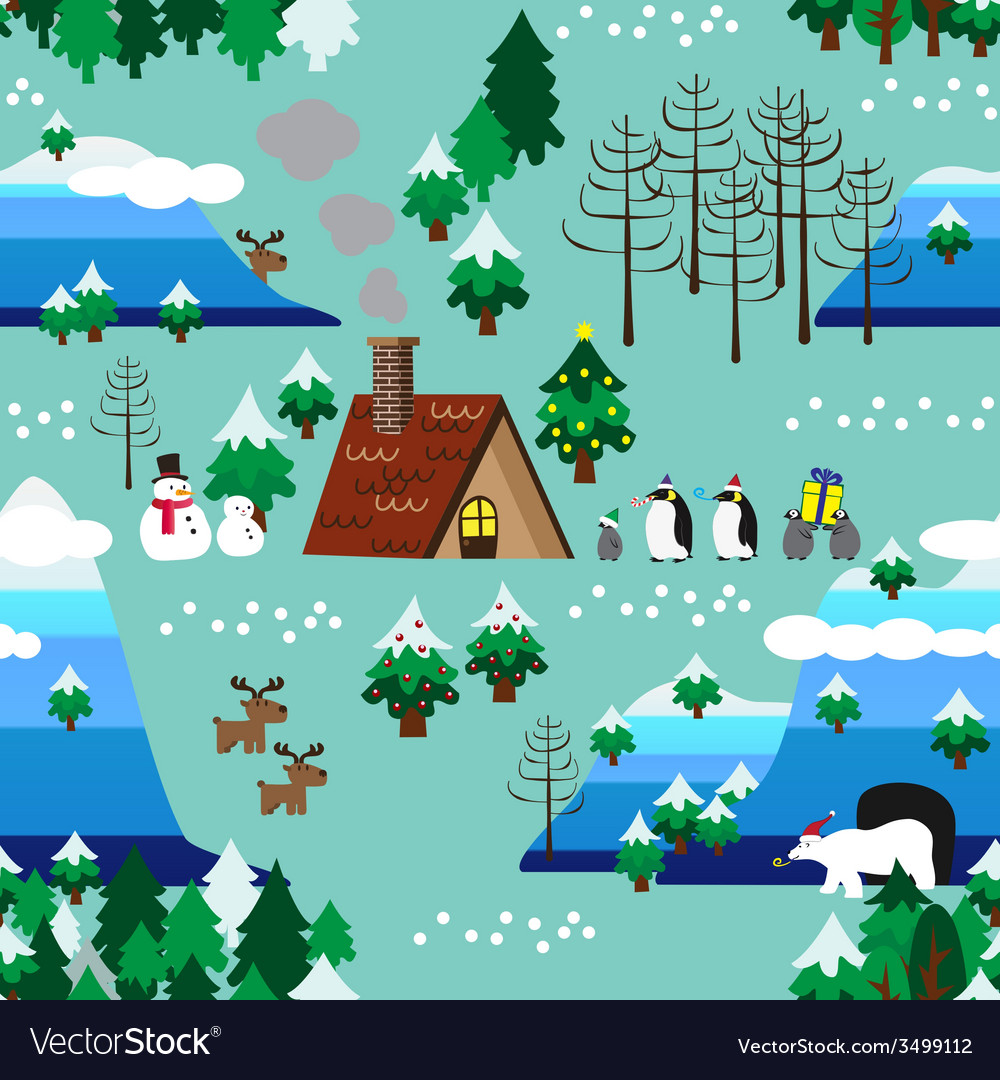 Christmas theme landscape seamless pattern close vector | Price: 1 Credit (USD $1)
