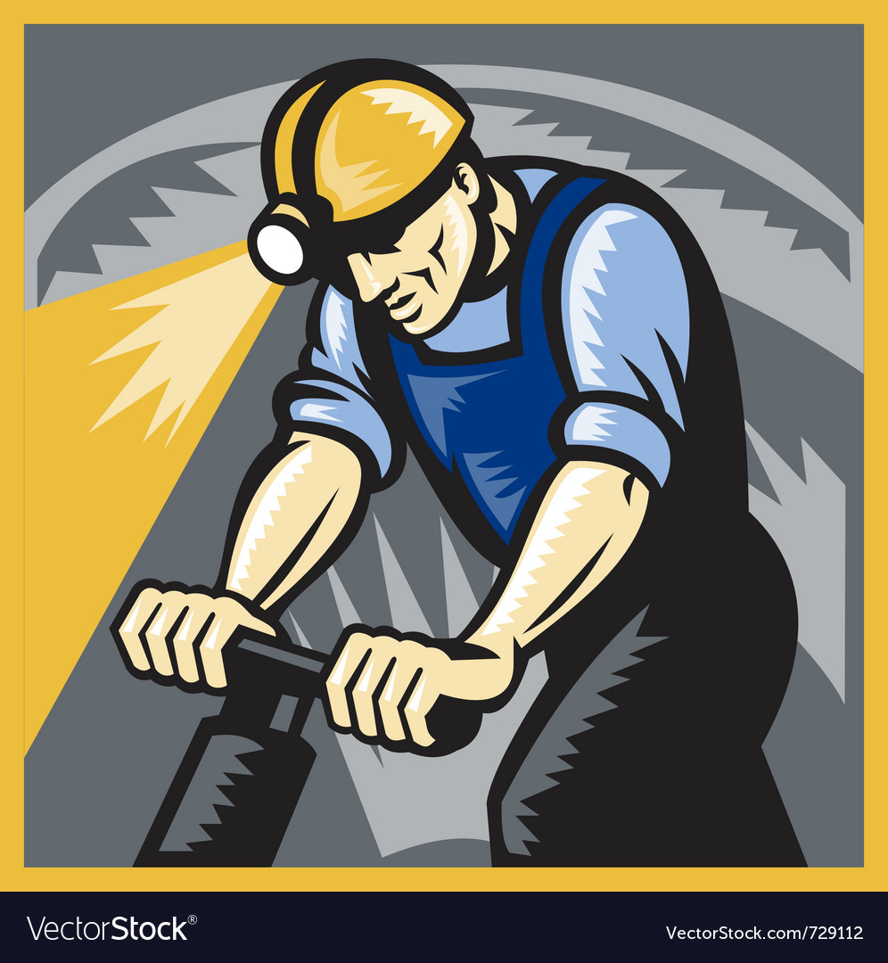 Coal miner drilling vector | Price: 3 Credit (USD $3)