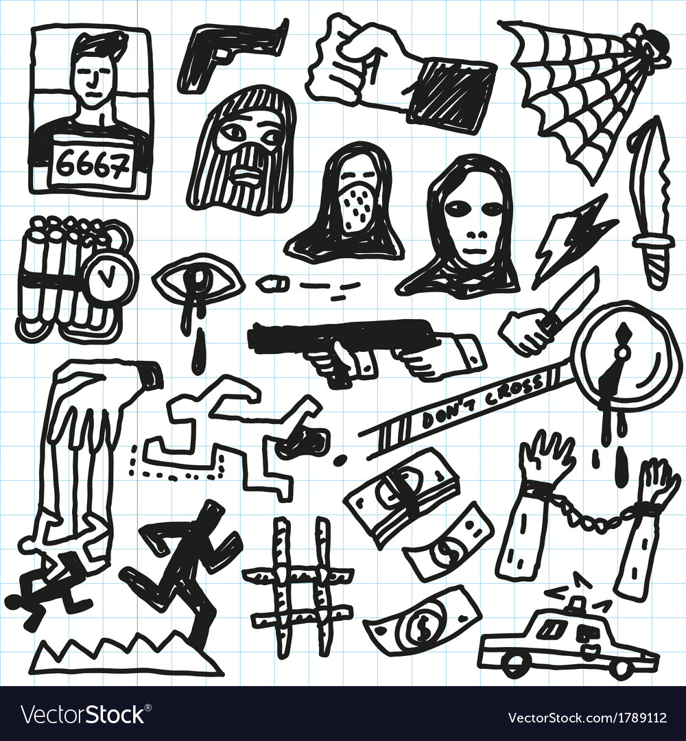 Crime violence - doodles set vector | Price: 1 Credit (USD $1)