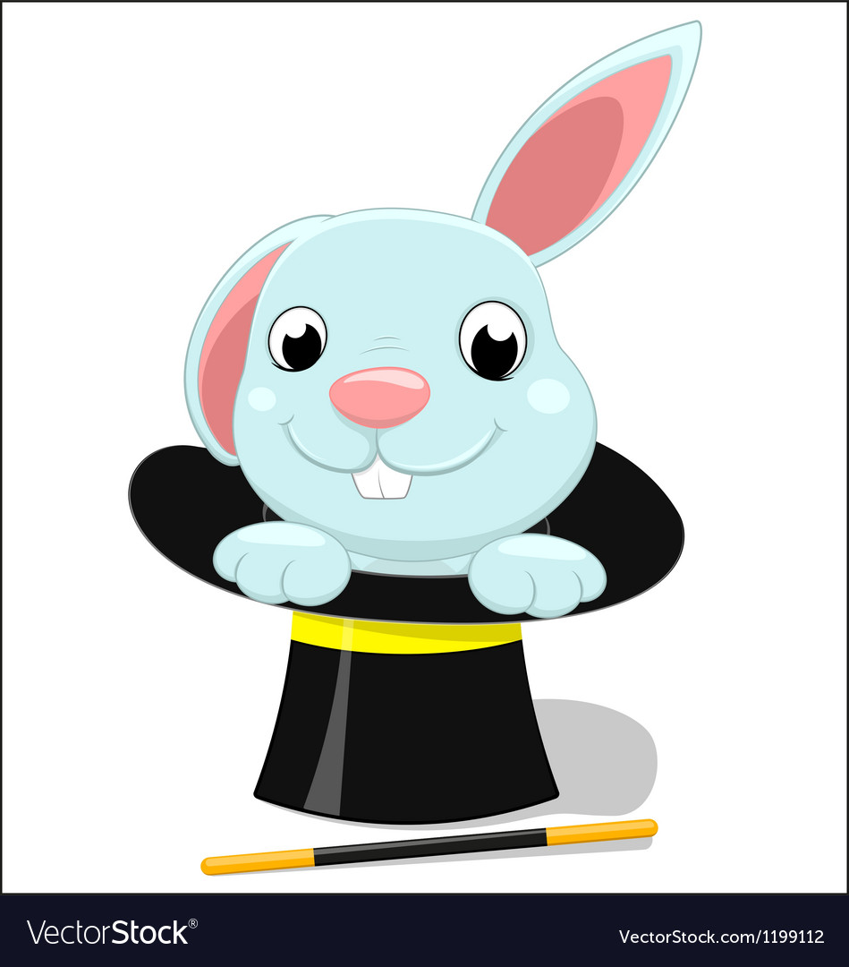 Cute bunny on magician hat vector   Price: 1 Credit (USD $1)